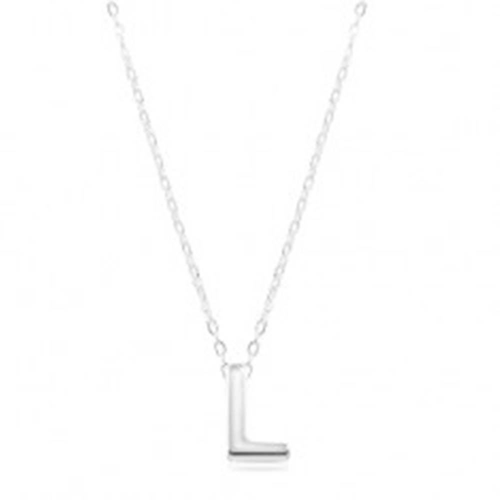 Šperky eshop Strieborný náhrdelník 925, lesklá retiazka, veľké tlačené písmeno L