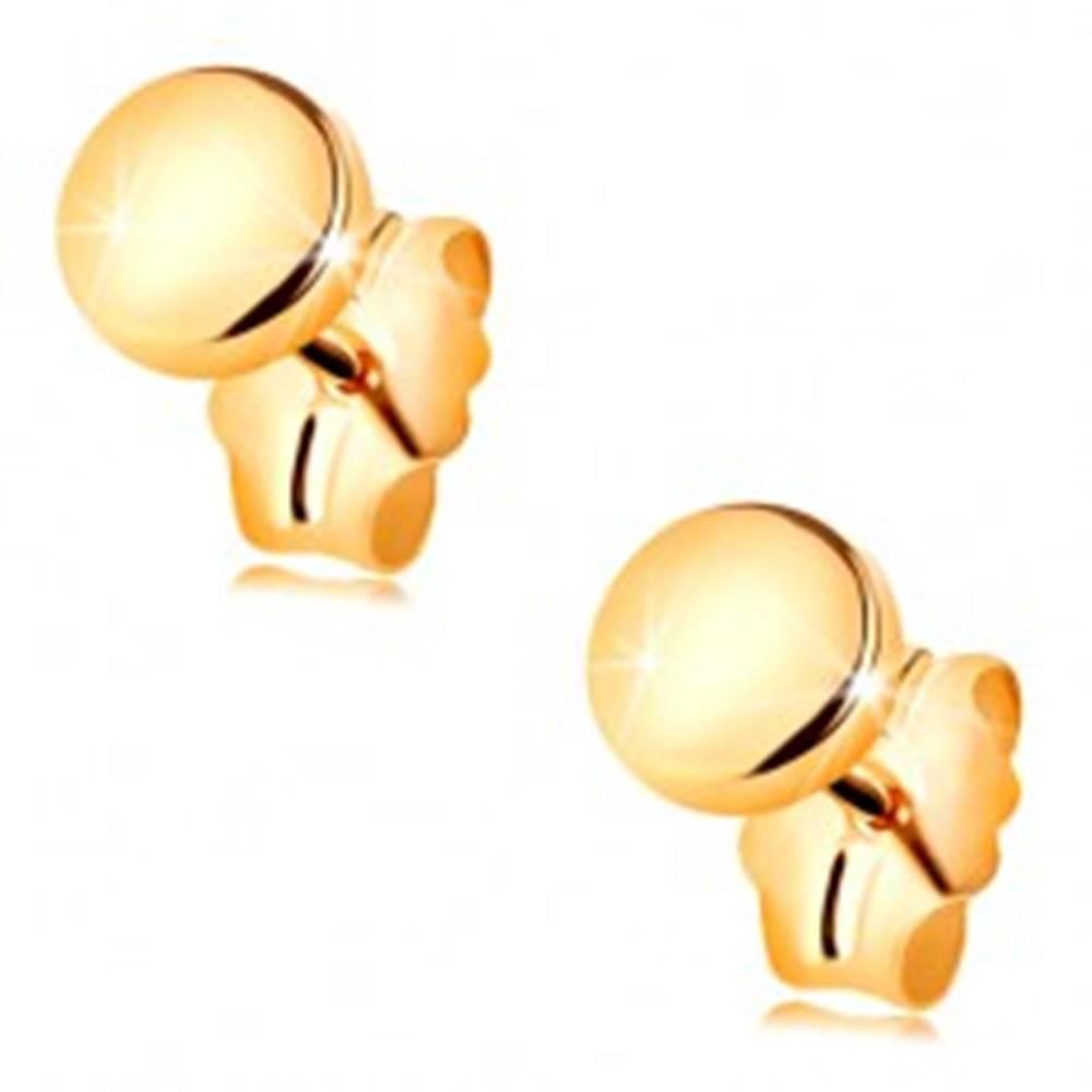 Šperky eshop Zlaté náušnice 585 s puzetovým zapínaním - zrkadlovolesklý a hladký kruh