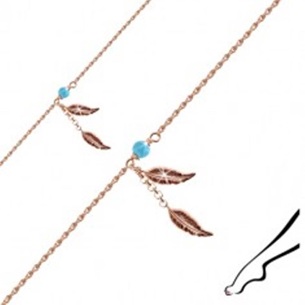 Šperky eshop Náramok zo striebra 925 medenej farby na nohu - dva podlhovasté listy, guľôčka modrej farby