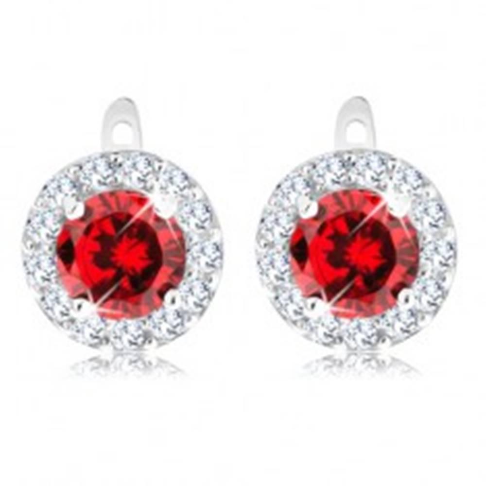 Šperky eshop Náušnice zo striebra 925, okrúhly zirkón v červenej farbe s trblietavou obrubou
