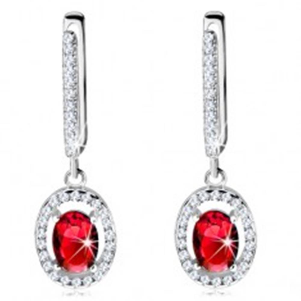 Šperky eshop Strieborné náušnice 925, červený oválny zirkón s čírym žiarivým lemovaním