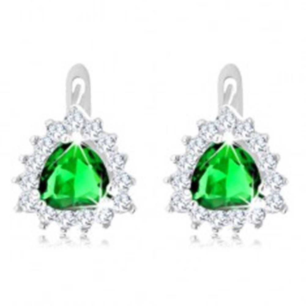 Šperky eshop Strieborné náušnice 925, zelený brúsený trojuholník, ligotavé číre zirkóniky po obvode