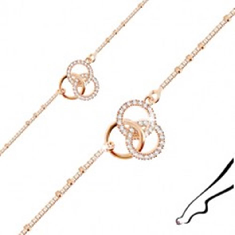 Šperky eshop Strieborný náramok na nohu 925 medenej farby - tri prepojené kruhy, číre zirkóny