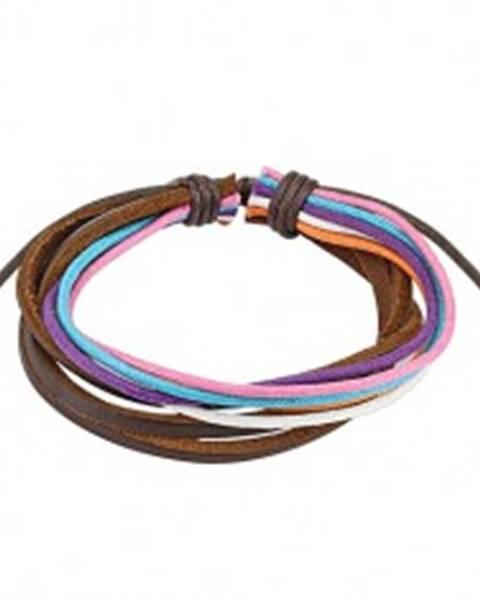 Šperky eshop Multináramok - farebné šnúrky, tri čokoládovohnedé prúžky kože