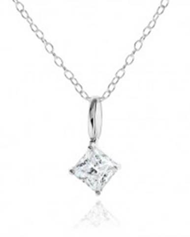 Strieborný náhrdelník 925, číry zirkónový kosoštvorec, ozdobný kotlík