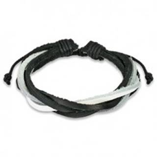 Bielo-čierny pletený náramok z kože