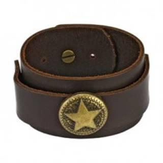 Hnedý kožený náramok - vojenská hviezda