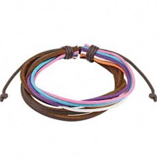 Multináramok - farebné šnúrky, tri čokoládovohnedé prúžky kože
