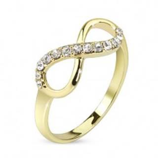 Prsteň zlatej farby, symbol nekonečna zdobený čírymi zirkónmi - Veľkosť: 48 mm