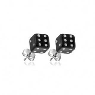 Strieborné puzetové náušnice 925 - čierne hracie kocky
