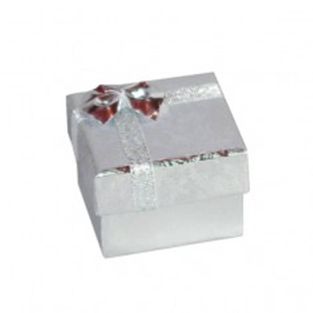Šperky eshop Darčeková krabička na náušnice - strieborné lesklé ruže, mašľa, 50 mm
