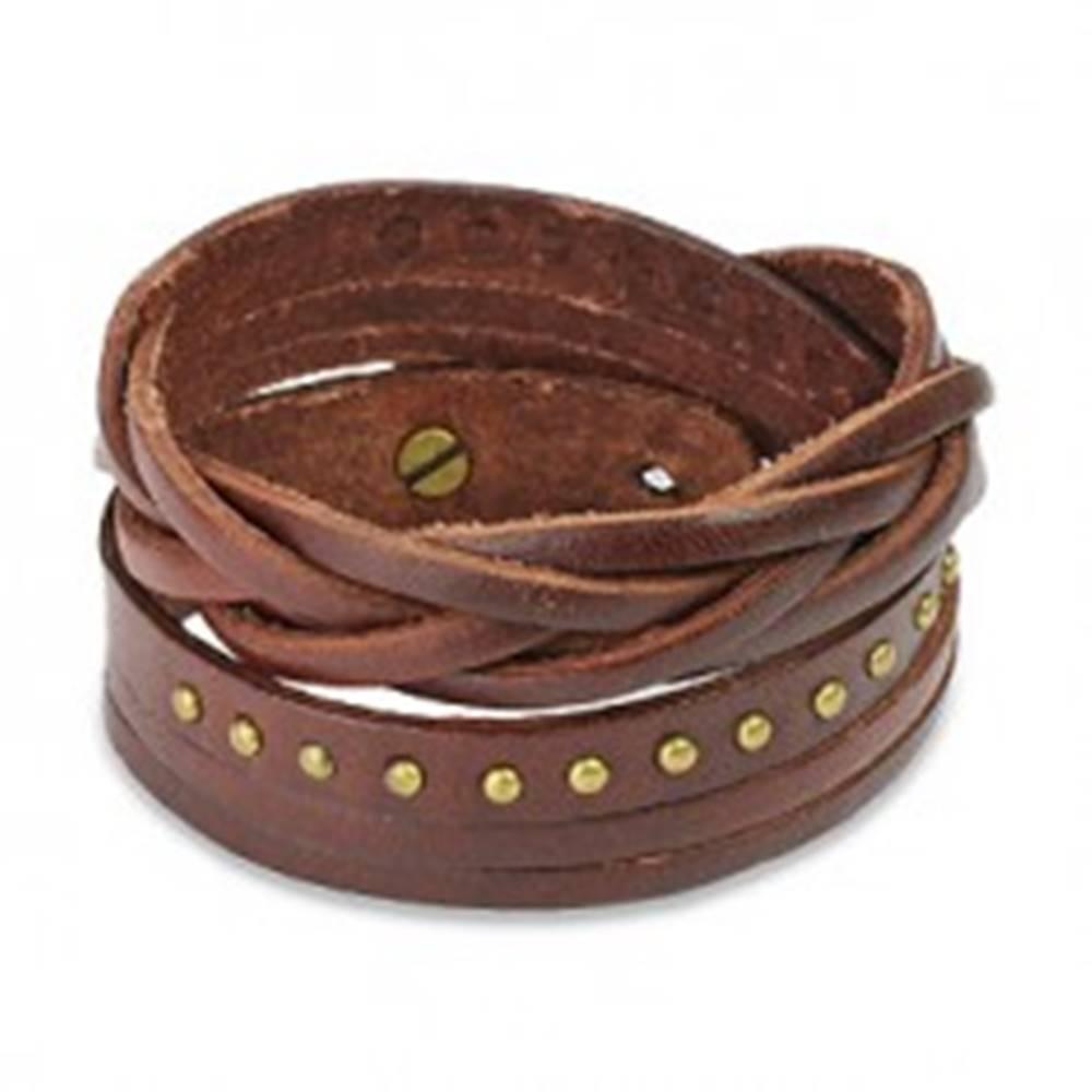 Šperky eshop Hnedý kožený náramok - vybíjané kruhy a pletenec