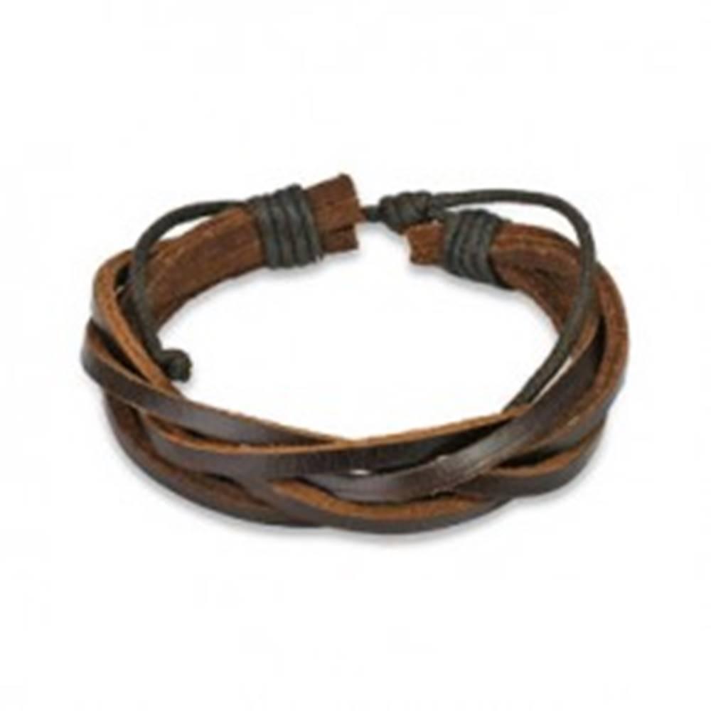 Šperky eshop Kožený náramok - hnedý pletenec