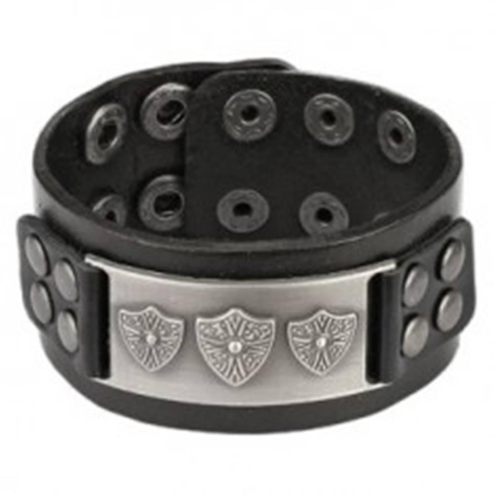 Šperky eshop Kožený vybíjaný náramok - kovová pracka, kráľovský erb