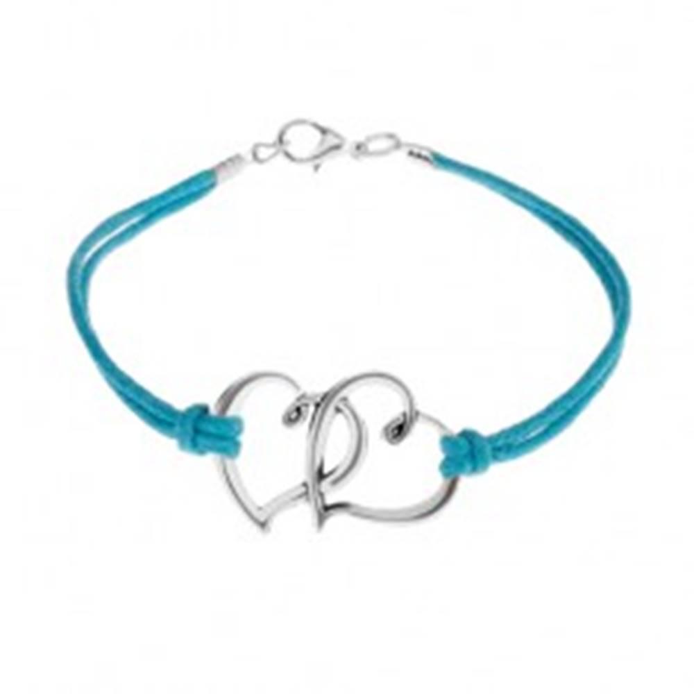 Šperky eshop Náramok z modrých motúzikov, dva obrysy srdiečok v striebornej farbe