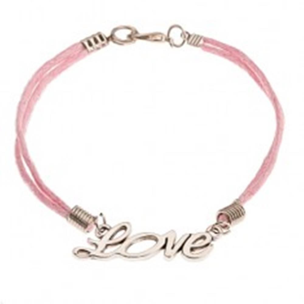 """Šperky eshop Ružový šnúrkový náramok, prívesok striebornej farby - nápis """"Love"""""""