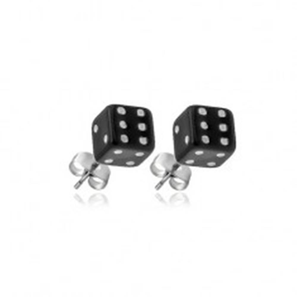 Šperky eshop Strieborné puzetové náušnice 925 - čierne hracie kocky