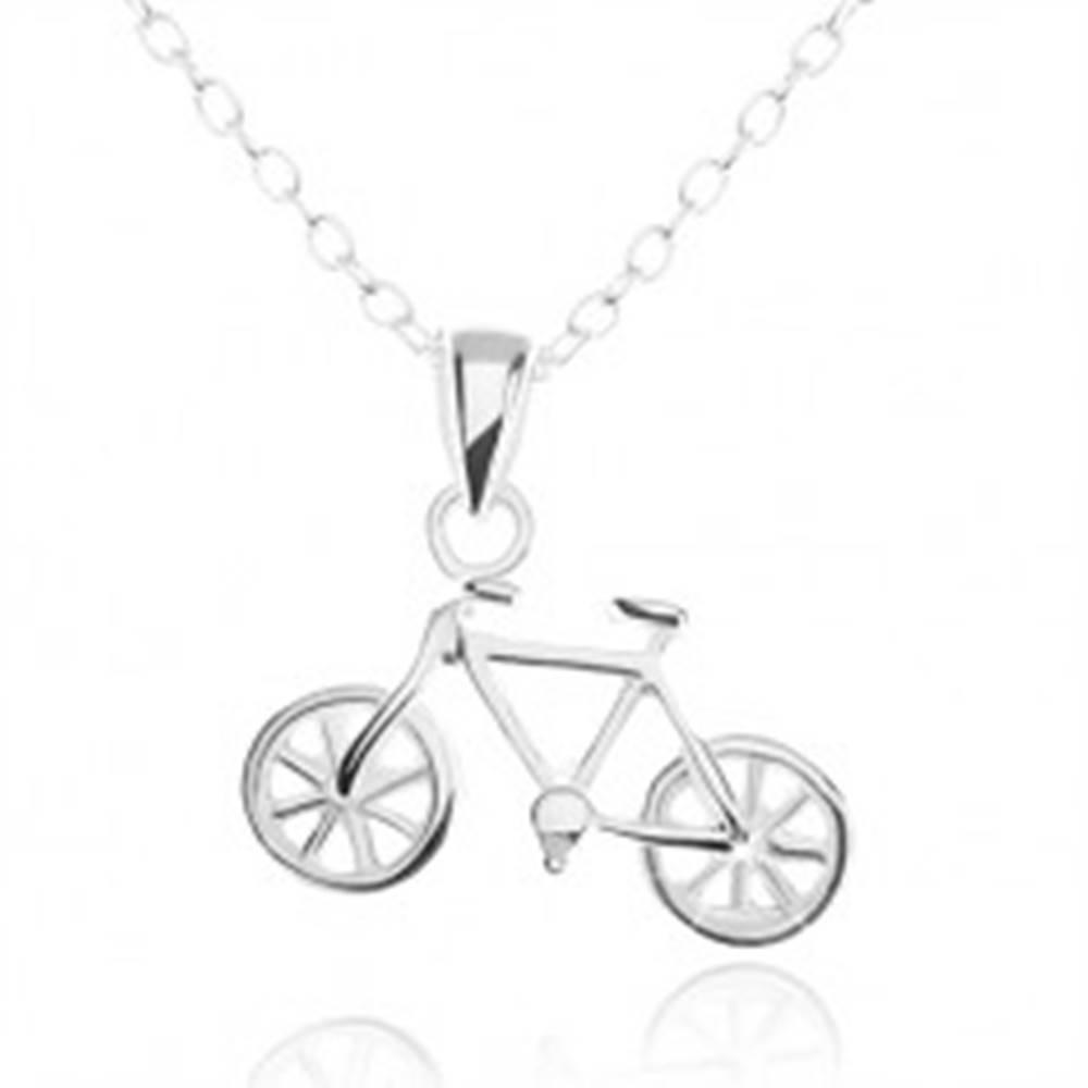 Šperky eshop Strieborný náhrdelník 925, detailne vyrezávaný prívesok bicykla