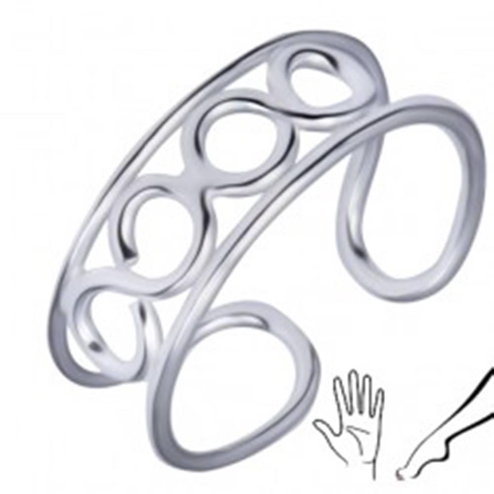 Šperky eshop Strieborný prsteň 925 na nohu alebo ruku so štyrmi očkami