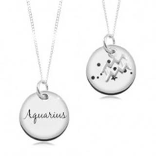 Nastaviteľný náhrdelník, striebro 925, retiazka a okrúhla známka - znamenie VODNÁR