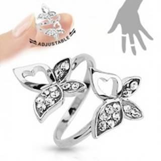 Nastaviteľný prsteň, strieborná farba, motýliky, číre zirkóny, výrezy