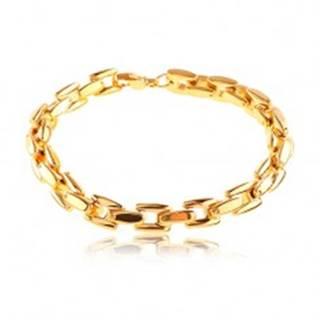 Oceľový náramok v zlatom odtieni, lesklá reťaz z hranatých článkov