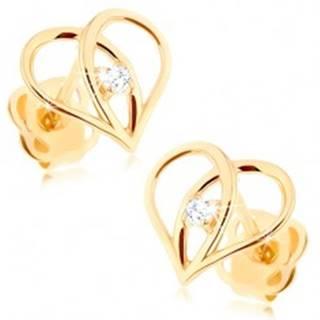 Puzetové náušnice zo zlata 585 - kontúra srdca s prekríženými líniami, zirkón