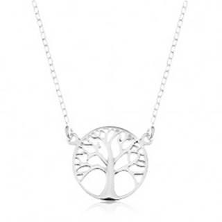 Strieborný 925 náhrdelník, retiazka a prívesok - lesklý strom života v kruhu