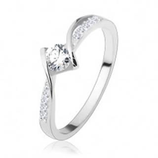 Zásnubný prsteň, striebro 925, lesklé zaoblené línie, okrúhly číry zirkón uprostred - Veľkosť: 50 mm
