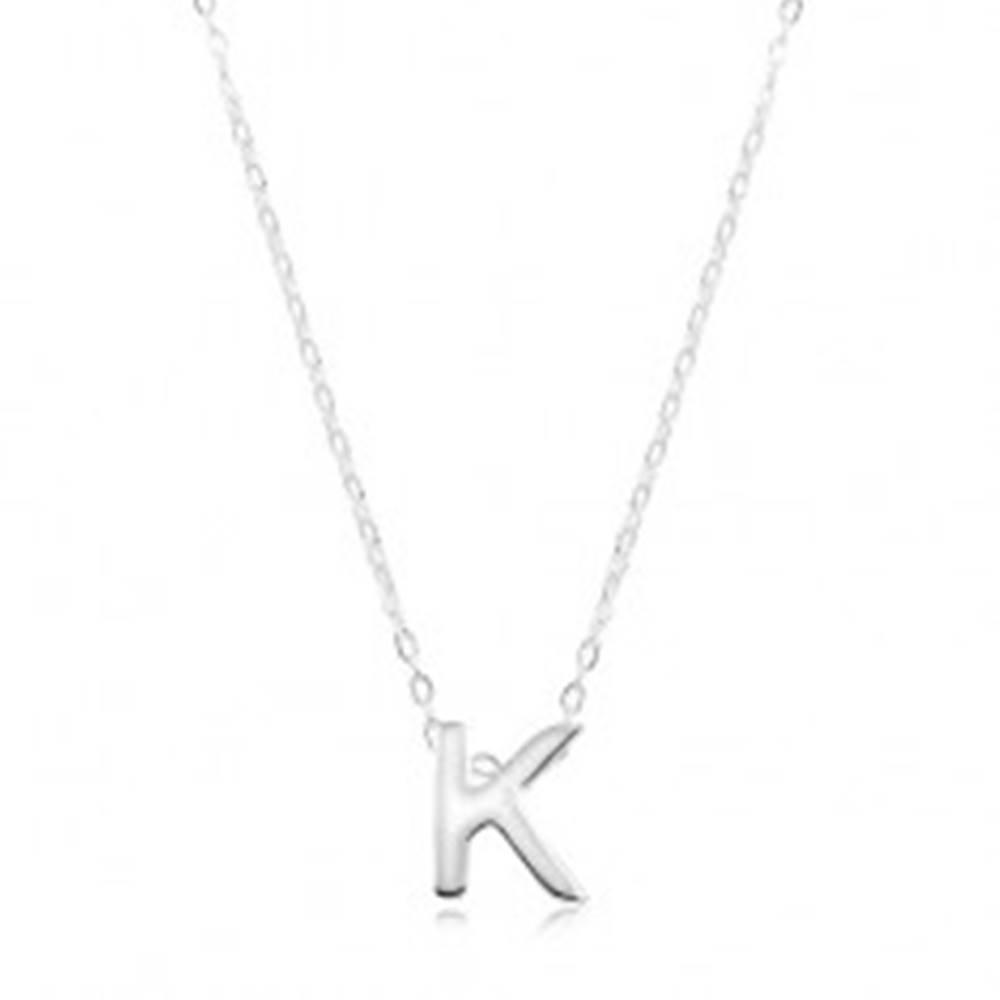 Šperky eshop Náhrdelník zo striebra 925, veľké tlačené písmeno K, lesklá retiazka