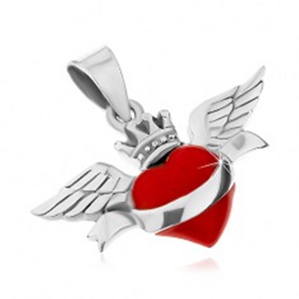 Šperky eshop Prívesok zo striebra 925, červené srdce so stuhou, korunkou a krídlami, patina