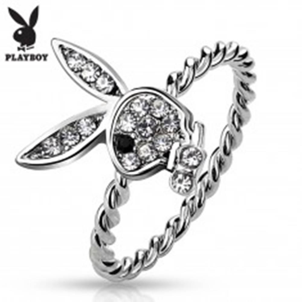 Šperky eshop Prsteň striebornej farby, Playboy zajačik s čírymi zirkónmi a čiernym očkom - Veľkosť: 49 mm