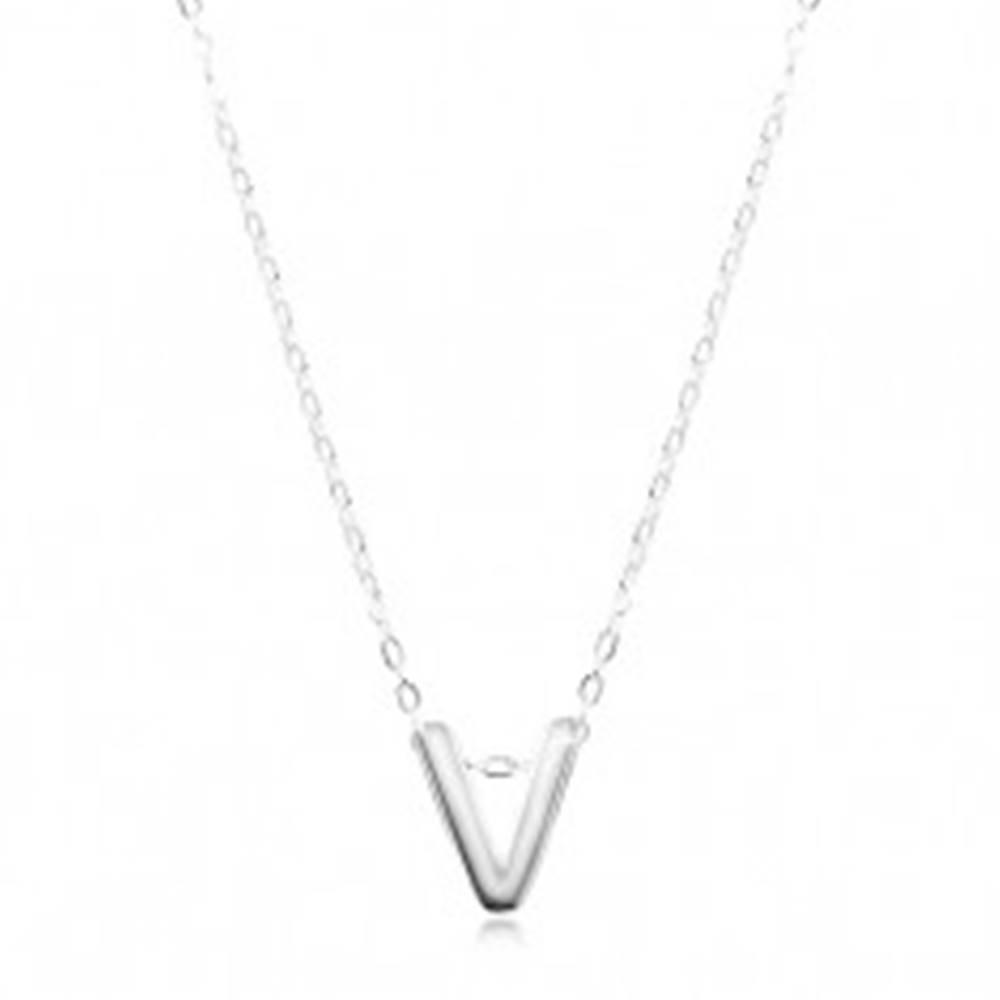 Šperky eshop Strieborný náhrdelník 925, lesklá retiazka, veľké tlačené písmeno V