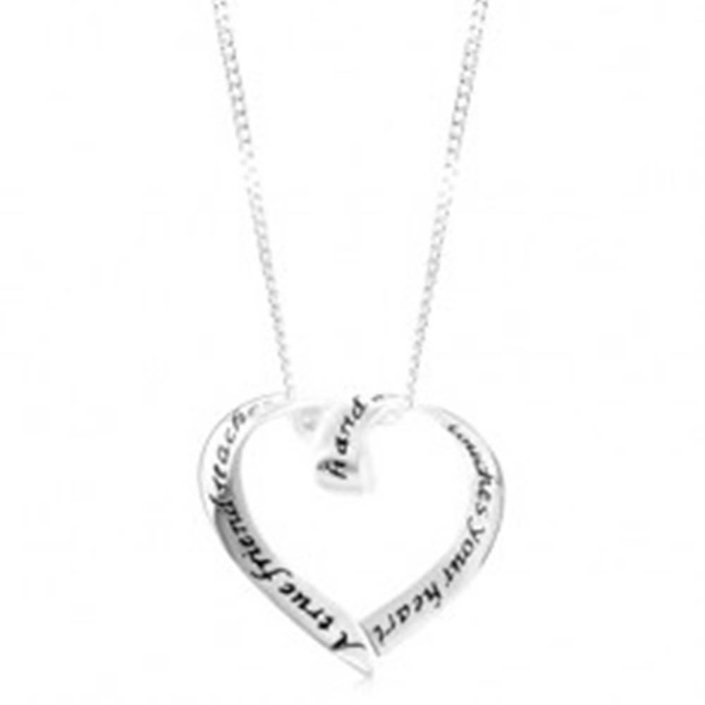 Šperky eshop Strieborný náhrdelník 925, ligotavá kontúra srdiečka, čierny nápis