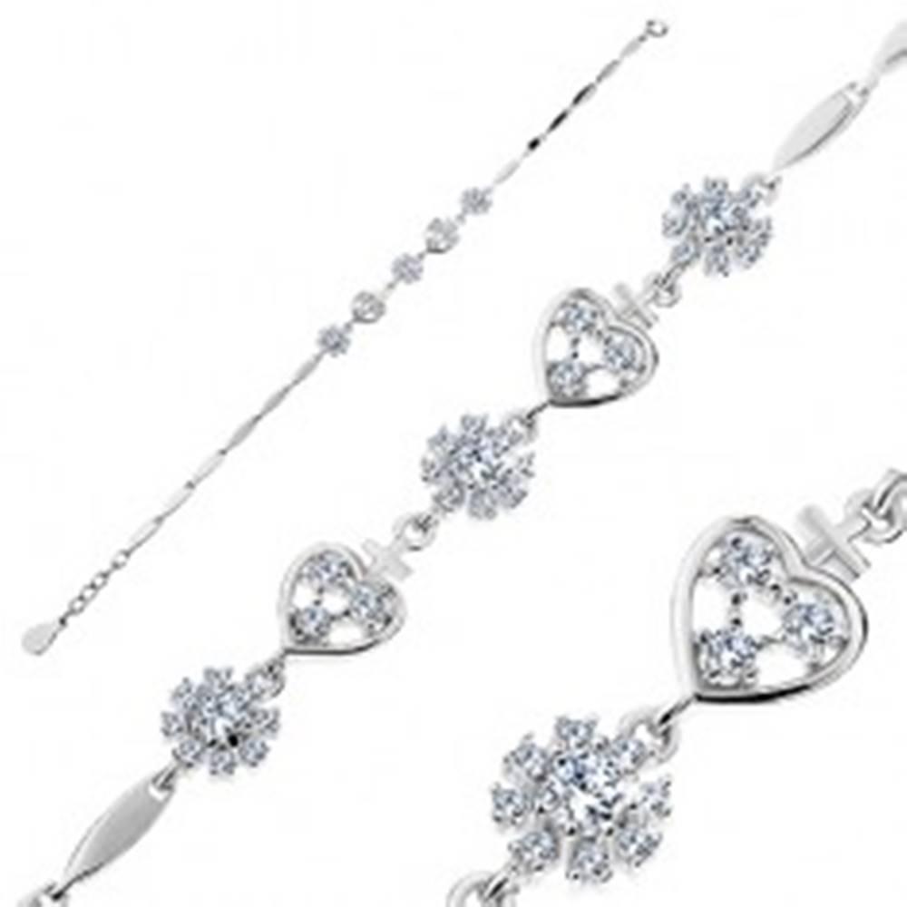 Šperky eshop Strieborný náramok 925, zirkónové srdiečka a kvety, lesklé úzke články