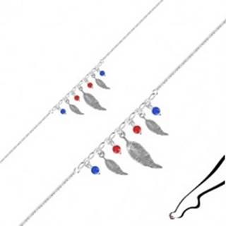 Náramok na nohu zo striebra 925 - tri pierka, štyri guľôčky červenej a modrej farby