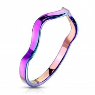 Prsteň z ocele v dúhovom farebnom odtieni - motív vlnky, úzke ramená - Veľkosť: 49 mm