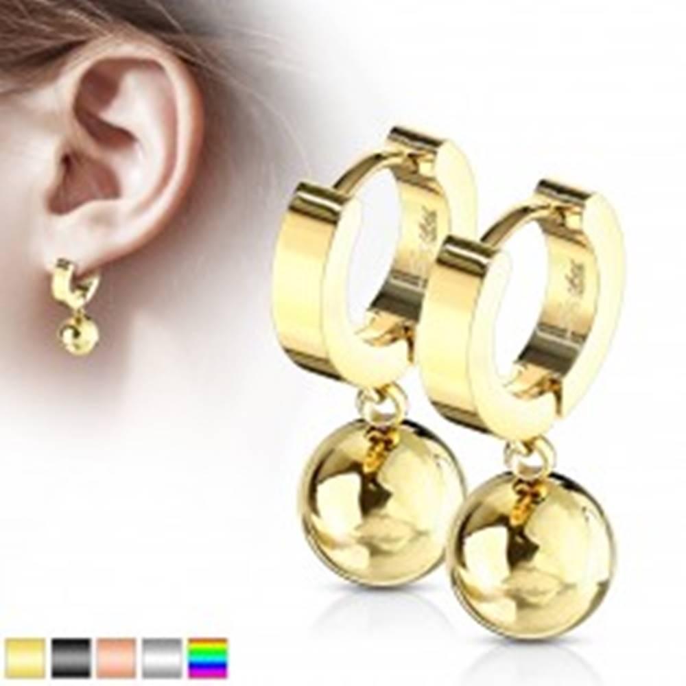 Šperky eshop Kĺbové náušnice z chirurgickej ocele 316L - krúžok s visiacou guľôčkou - Farba: Čierna