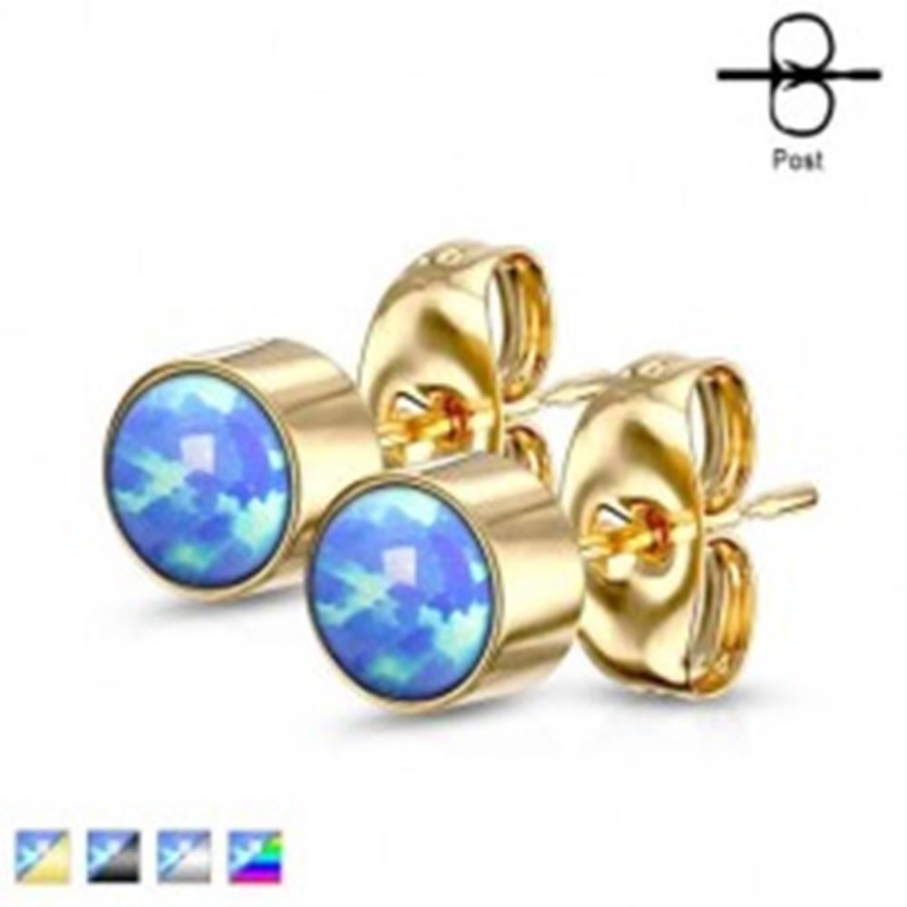 Šperky eshop Náušnice z chirurgickej ocele - okrúhly syntetický opál modrej farby, puzetové zapínanie, 4 mm - Farba: Čierna