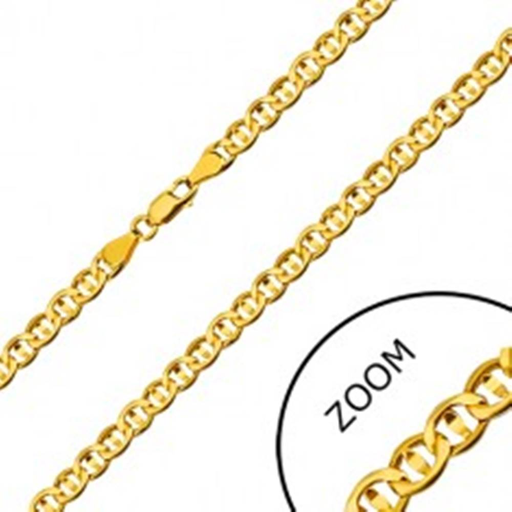 Šperky eshop Retiazka zo žltého 14K zlata - ploché očká predelené zrniečkom, 550 mm