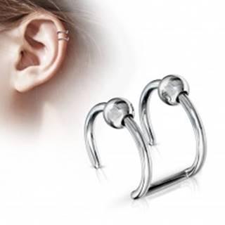 Oceľový fake piercing do chrupavky - dva krúžky s guličkou