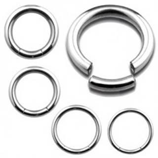 Oceľový piercing, lesklý hladký kruh v striebornom farebnom prevedení - Priemer: 10 mm