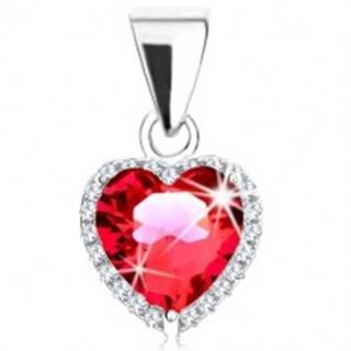 Prívesok zo striebra 925, červené zirkónové srdce, trblietavý obrys