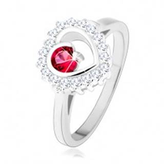 Prsteň zo striebra 925, ródiovaný, číry obrys srdca s okrúhlym ružovým zirkónom - Veľkosť: 49 mm