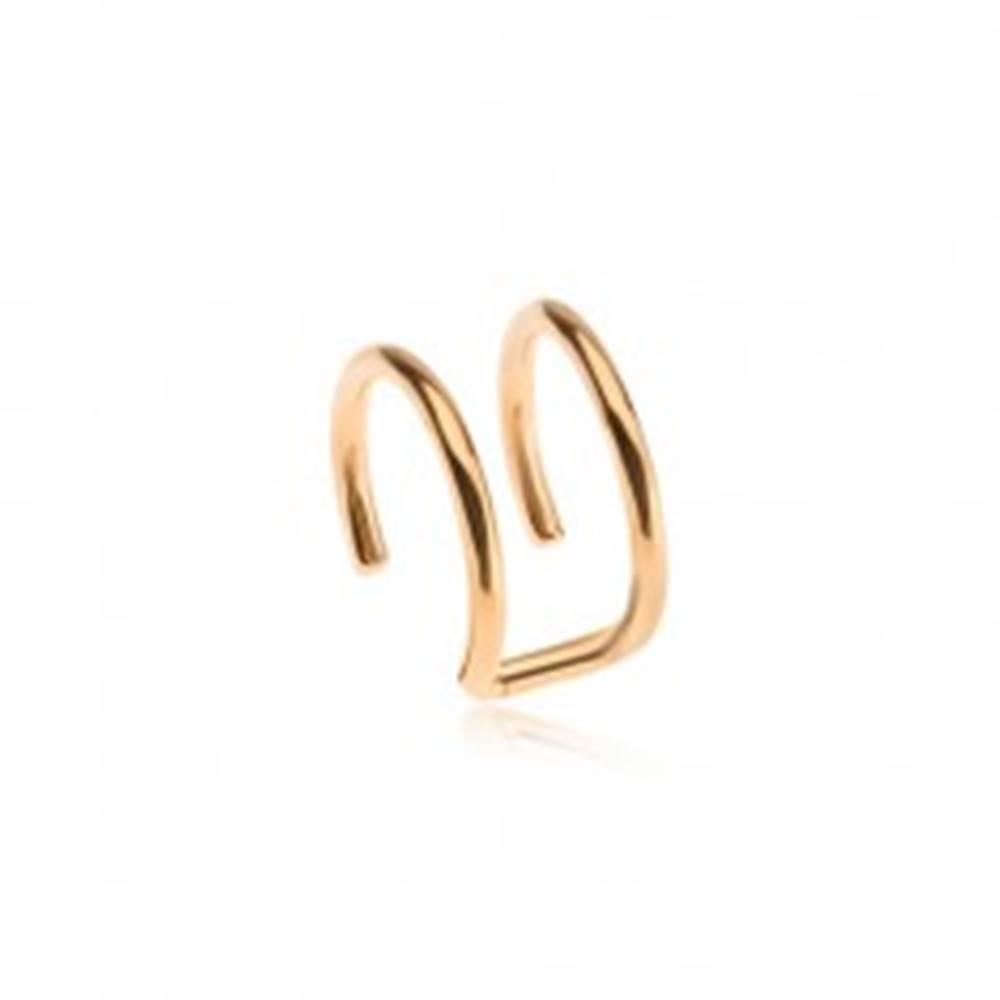 Šperky eshop Falošný piercing do ucha z ocele, dvojitý krúžok zlatej farby
