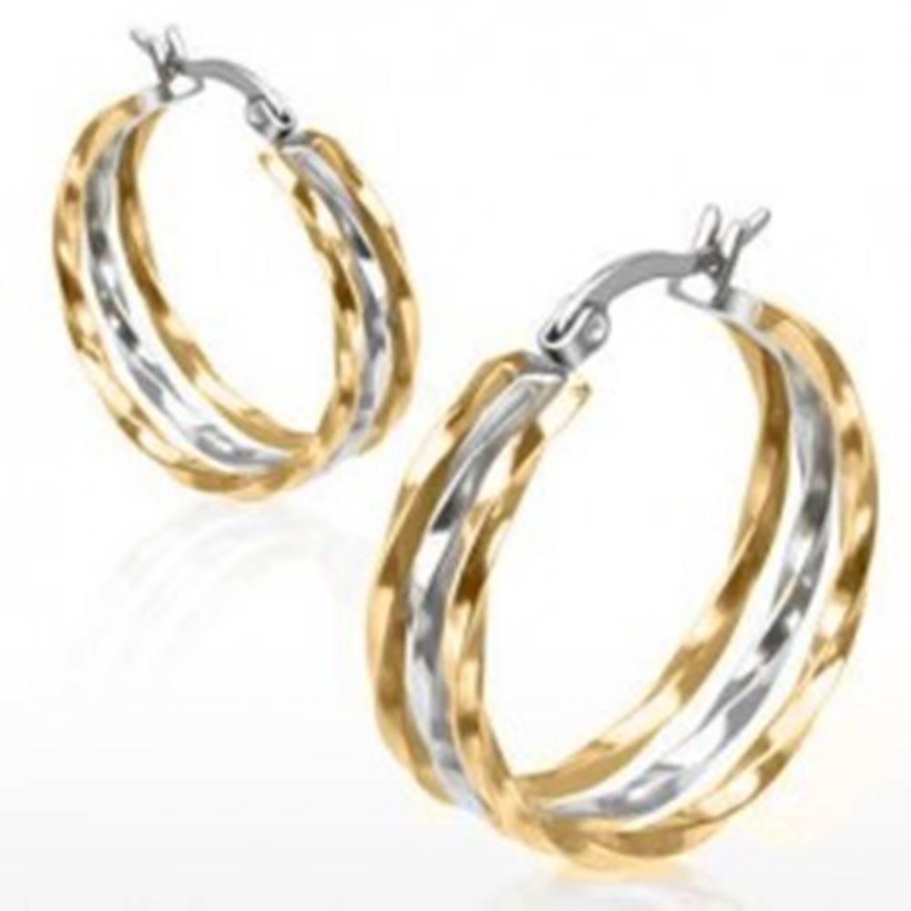 Šperky eshop Kruhové náušnice z ocele, zlatý a strieborný odtieň, zvlnené línie