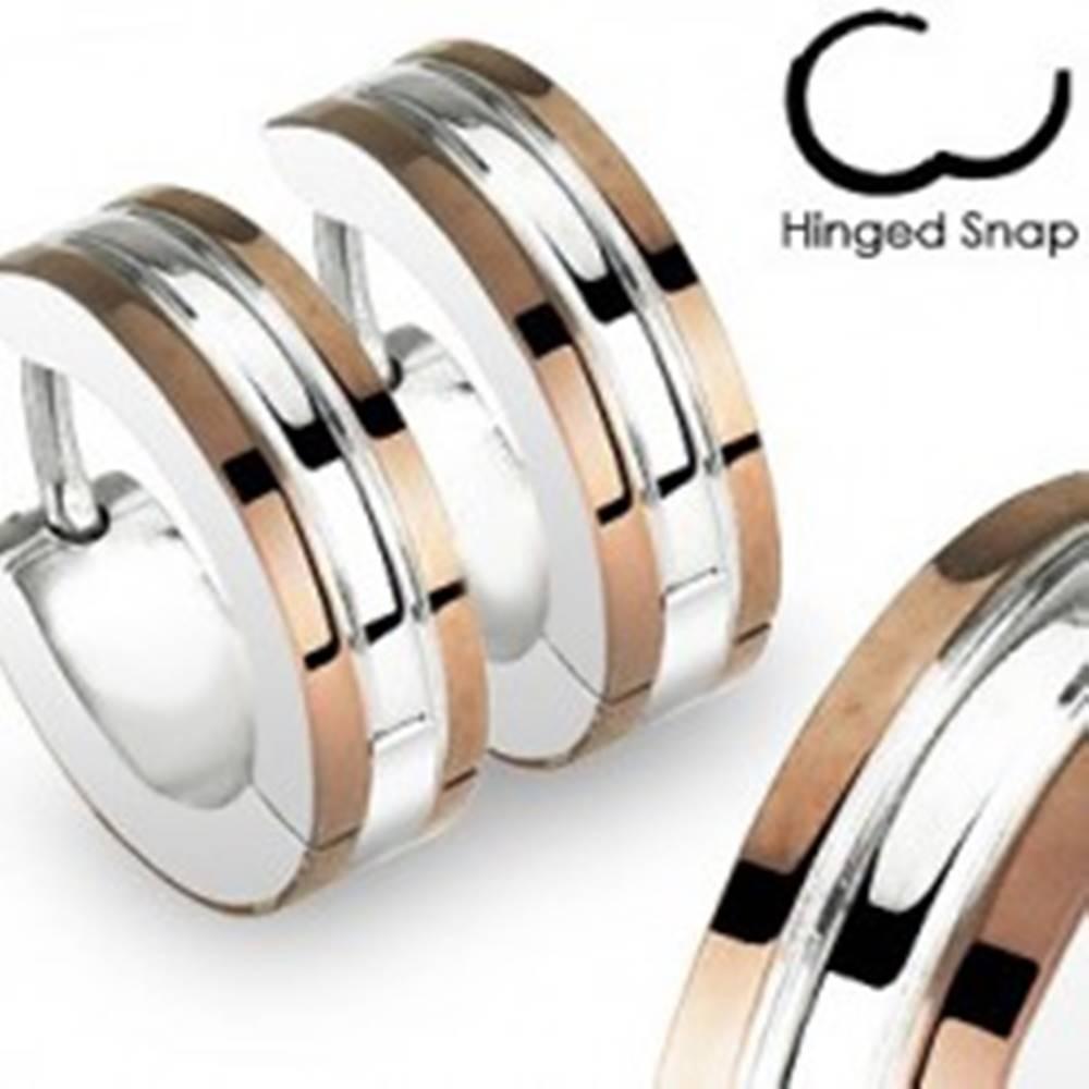 Šperky eshop Náušnice z ocele 316L striebornej farby - medené prúžky, lesklý zárez