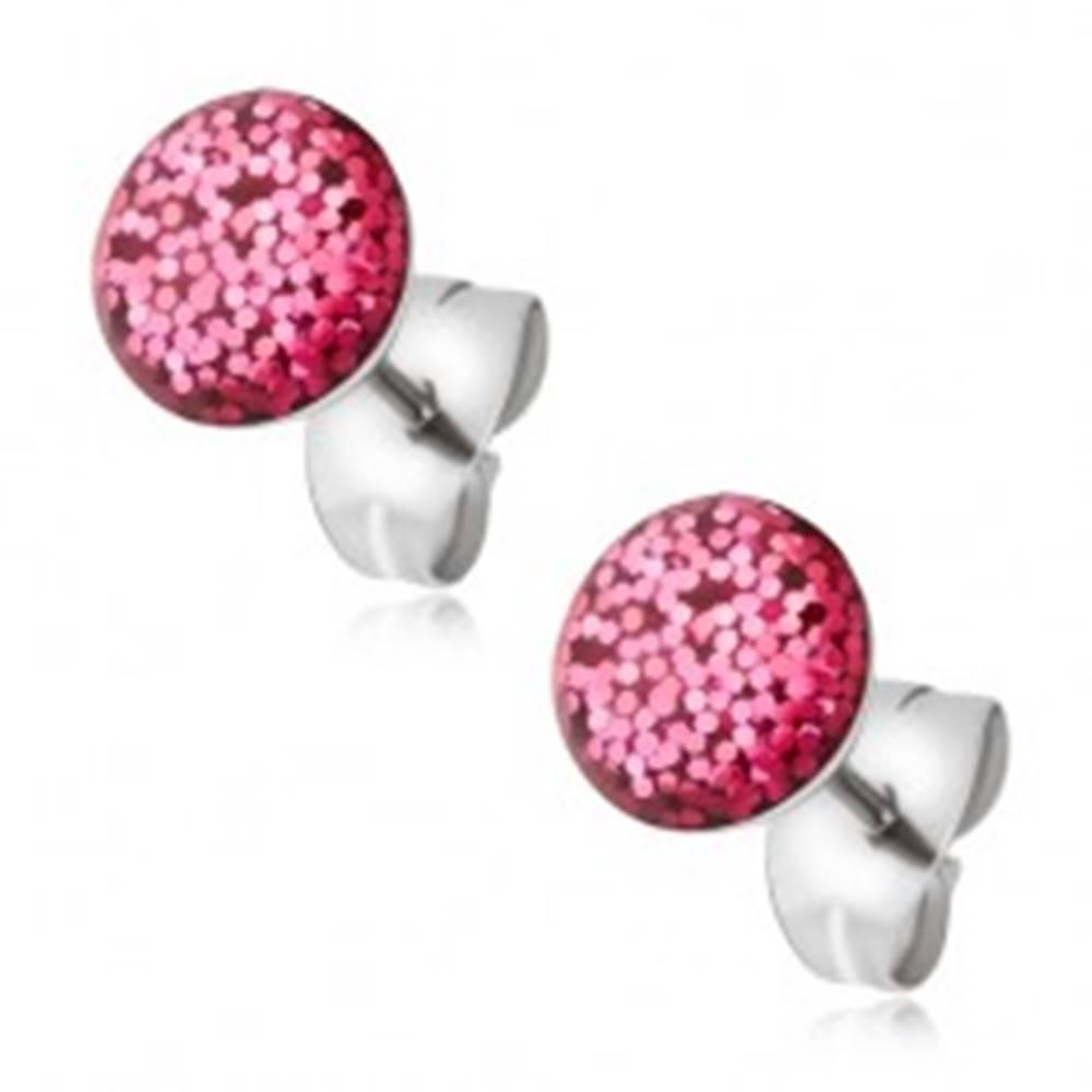 Šperky eshop Oceľové náušnice, puzetky s ružovými trblietkami