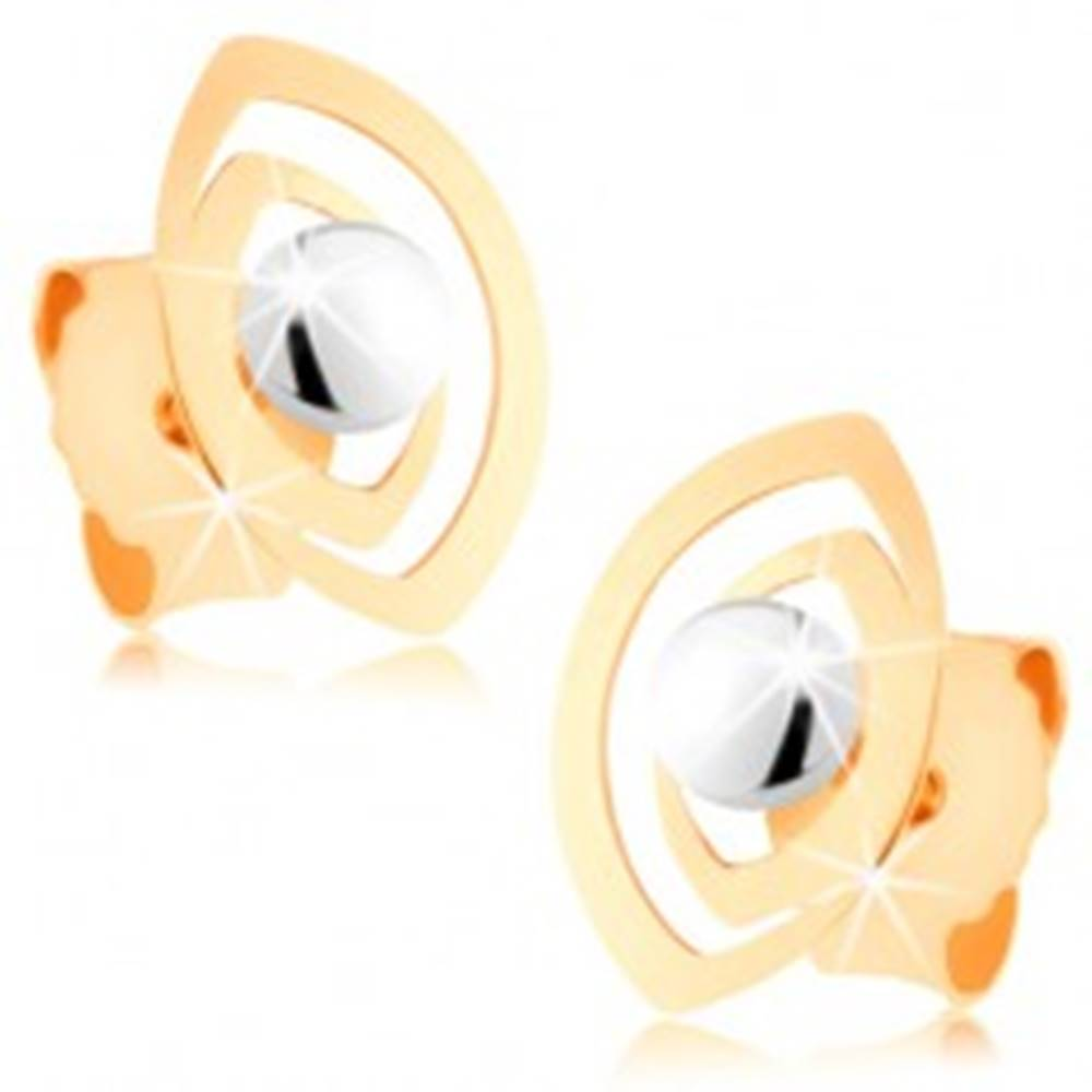 Šperky eshop Puzetové náušnice v 9K zlate - dvojitá kontúra zrnka s lesklou guličkou
