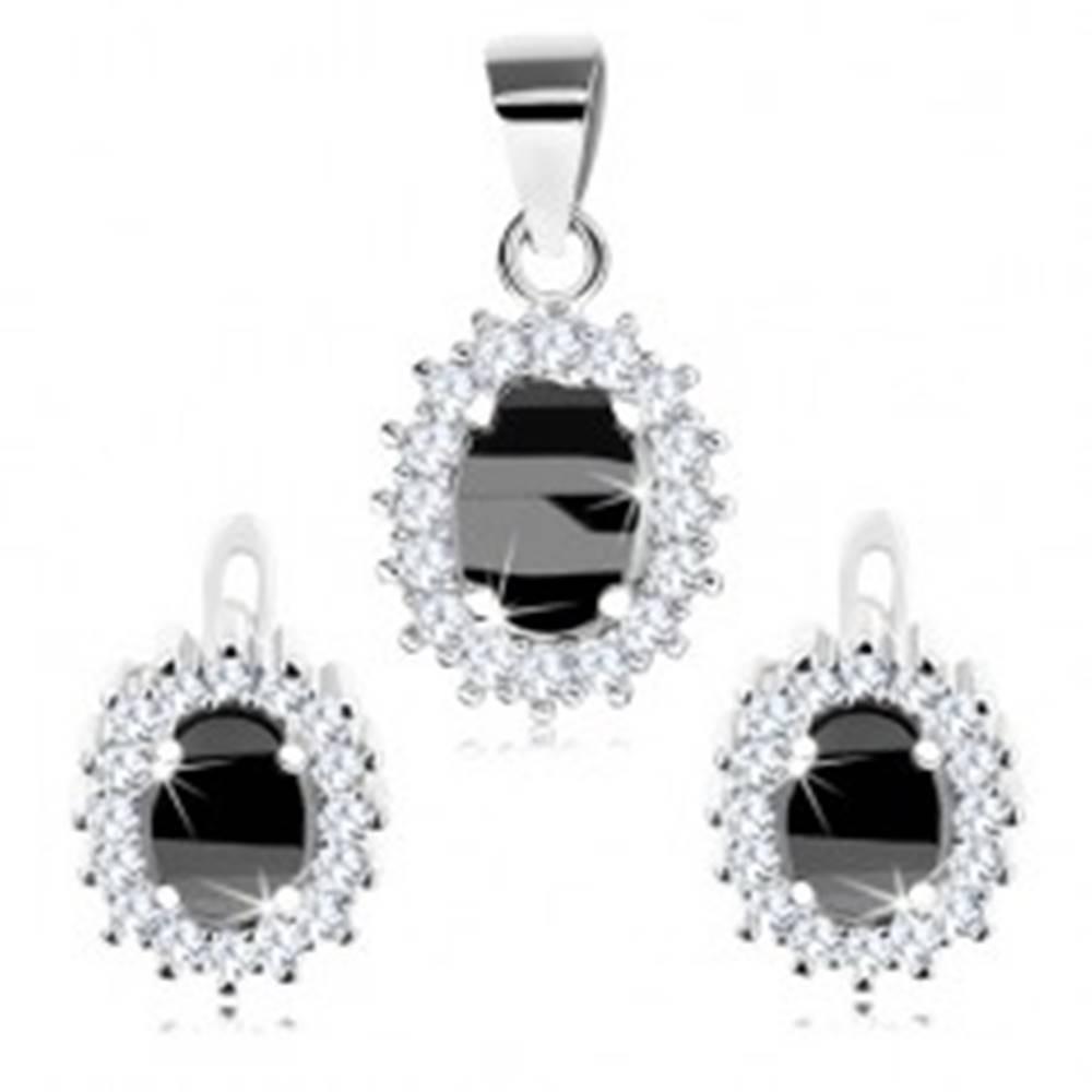 Šperky eshop Ródiovaná sada, striebro 925, náušnice a prívesok, čierny oválny zirkón, číry lem